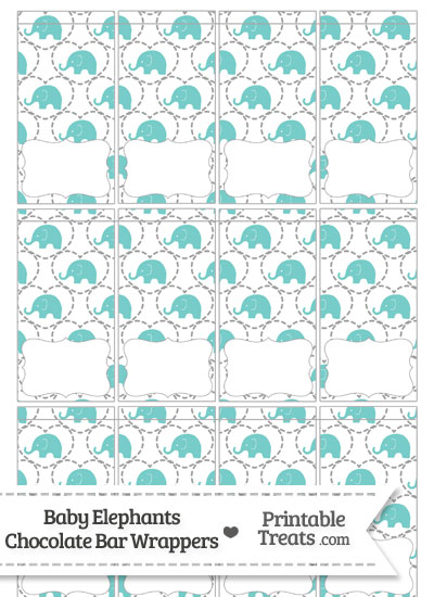 Blue Green Baby Elephants Mini Chocolate Bar Wrappers from PrintableTreats.com