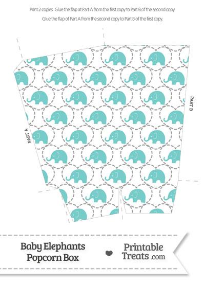 Blue Green Baby Elephants Popcorn Box from PrintableTreats.com