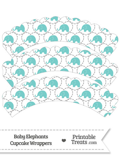 Blue Green Baby Elephants Scalloped Cupcake Wrappers from PrintableTreats.com