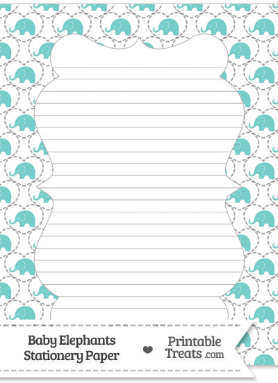 Blue Green Baby Elephants Stationery Paper from PrintableTreats.com