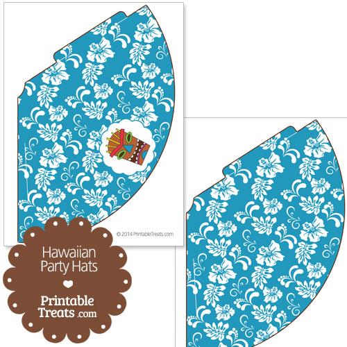 blue Hawaiian party hat printable