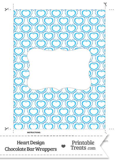 Blue Heart Design Chocolate Bar Wrappers from PrintableTreats.com