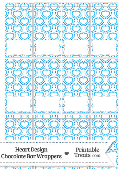 Blue Heart Design Mini Chocolate Bar Wrappers from PrintableTreats.com