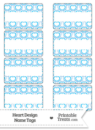 Blue Heart Design Name Tags from PrintableTreats.com