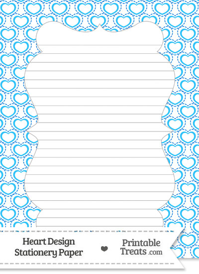 Blue Heart Design Stationery Paper from PrintableTreats.com