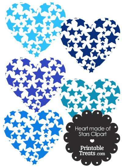 Blue Heart Made of Stars Clipart from PrintableTreats.com