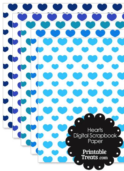 Blue Hearts Digital Scrapbook Paper from PrintableTreats.com