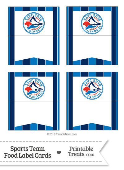 Blue Jays Food Label Buffet Cards from PrintableTreats.com
