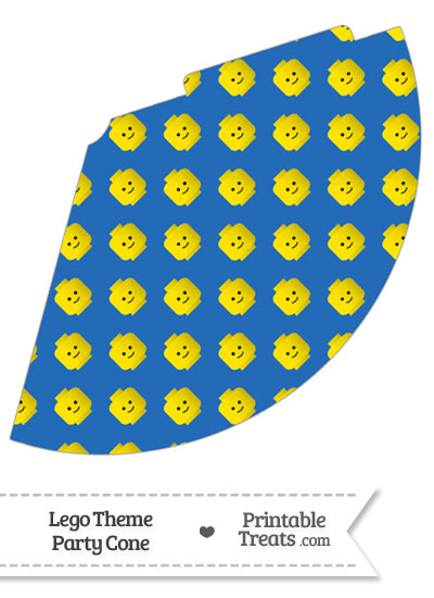 Blue Lego Theme Party Cone from PrintableTreats.com