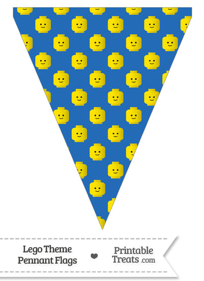 Blue Lego Theme Pennant Banner Flag from PrintableTreats.com