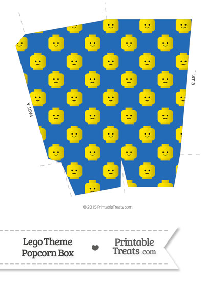 Blue Lego Theme Popcorn Box from PrintableTreats.com
