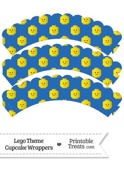 Blue Lego Theme Scalloped Cupcake Wrappers from PrintableTreats.com
