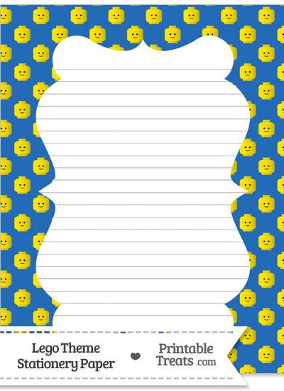 Blue Lego Theme Stationery Paper from PrintableTreats.com