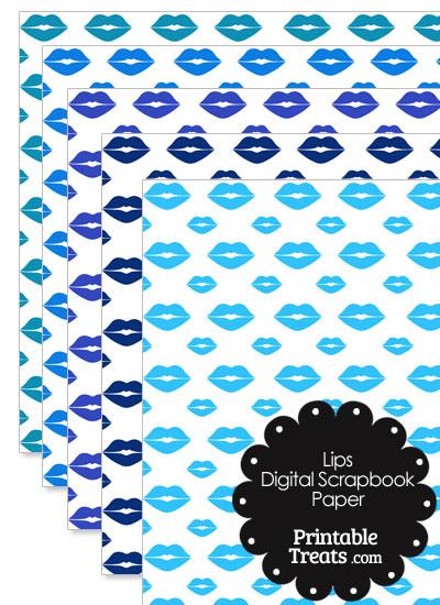 Blue Lips Digital Scrapbook Paper from PrintableTreats.com