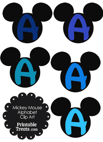 Blue Mickey Mouse Head Letter A Clipart from PrintableTreats.com