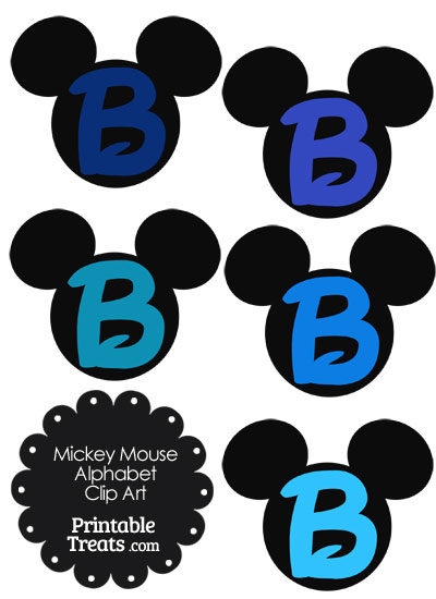 Blue Mickey Mouse Head Letter B Clipart from PrintableTreats.com
