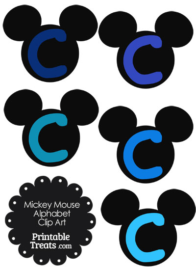Blue Mickey Mouse Head Letter C Clipart from PrintableTreats.com