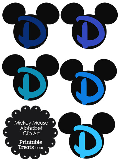 Blue Mickey Mouse Head Letter D Clipart from PrintableTreats.com