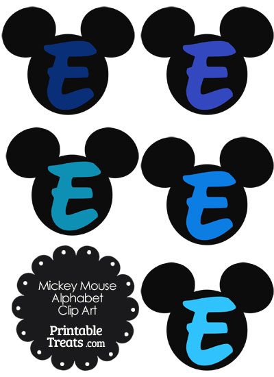 Blue Mickey Mouse Head Letter E Clipart from PrintableTreats.com