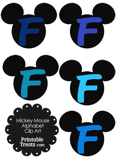 Blue Mickey Mouse Head Letter F Clipart from PrintableTreats.com
