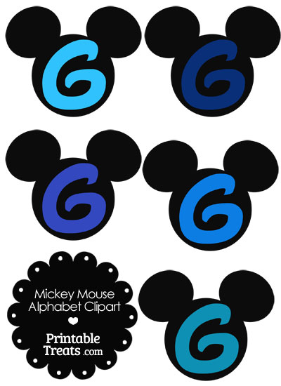 Blue Mickey Mouse Head Letter G Clipart from PrintableTreats.com