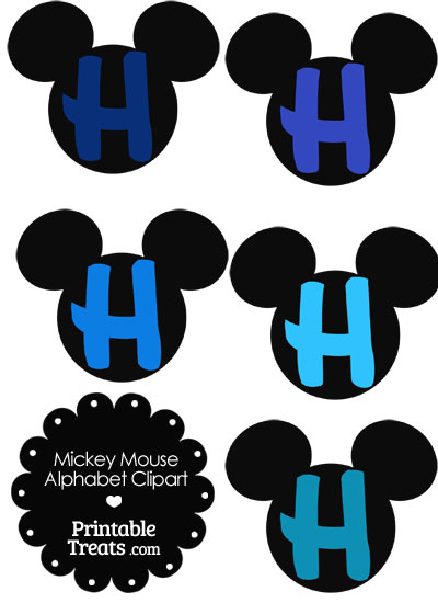 Blue Mickey Mouse Head Letter H Clipart from PrintableTreats.com