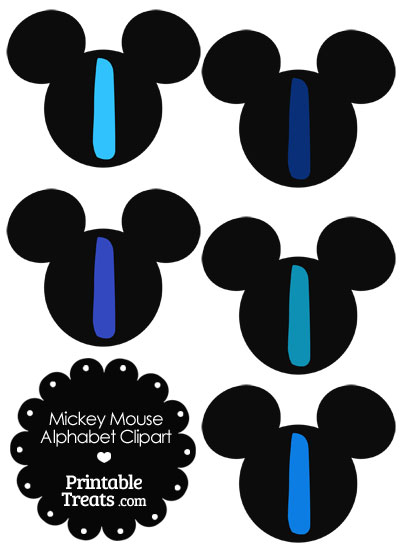 Blue Mickey Mouse Head Letter I Clipart from PrintableTreats.com
