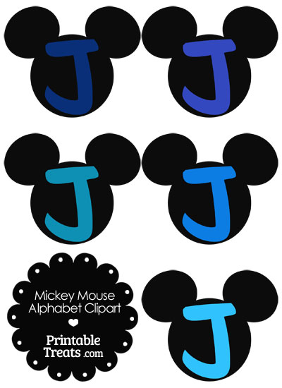 Blue Mickey Mouse Head Letter J Clipart from PrintableTreats.com