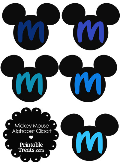 Blue Mickey Mouse Head Letter M Clipart from PrintableTreats.com