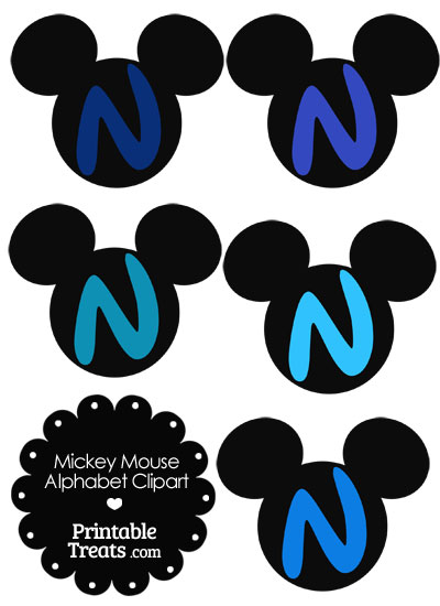 Blue Mickey Mouse Head Letter N Clipart from PrintableTreats.com