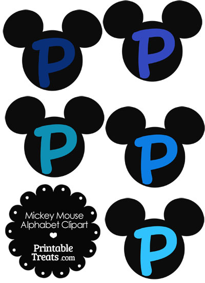 Blue Mickey Mouse Head Letter P Clipart from PrintableTreats.com