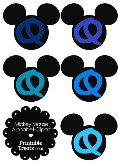Blue Mickey Mouse Head Letter Q Clipart from PrintableTreats.com