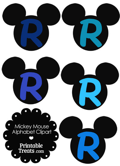 Blue Mickey Mouse Head Letter R Clipart from PrintableTreats.com