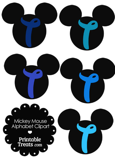 Blue Mickey Mouse Head Letter T Clipart from PrintableTreats.com