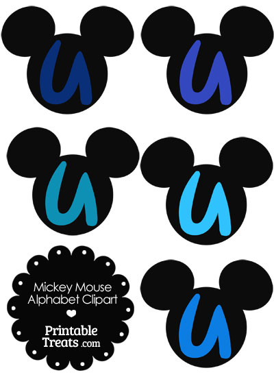 Blue Mickey Mouse Head Letter U Clipart from PrintableTreats.com