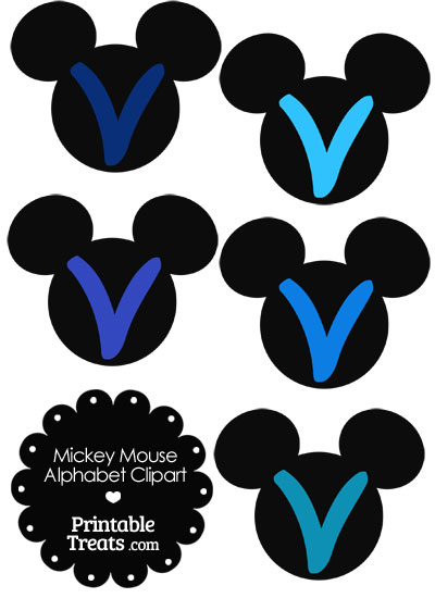 Blue Mickey Mouse Head Letter V Clipart from PrintableTreats.com