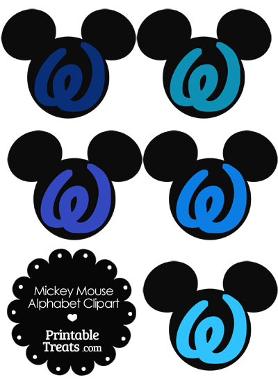 Blue Mickey Mouse Head Letter W Clipart from PrintableTreats.com