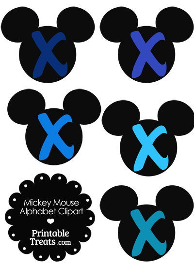 Blue Mickey Mouse Head Letter X Clipart from PrintableTreats.com