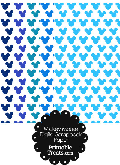Blue Mickey Mouse Head Scrapbook Paper from PrintableTreats.com