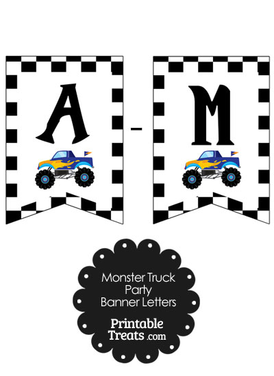 Blue Monster Truck Birthday Bunting Banner Letters A-M from PrintableTreats.com