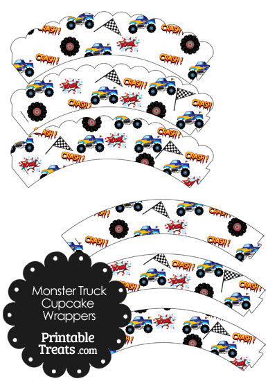 Printable Blue Monster Truck Cupcake Wrappers from PrintableTreats.com