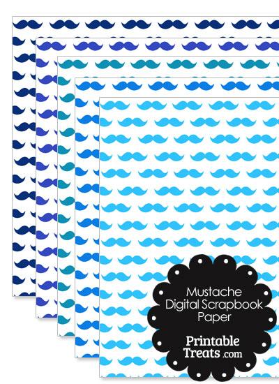 Blue Mustache Digital Scrapbook Paper from PrintableTreats.com