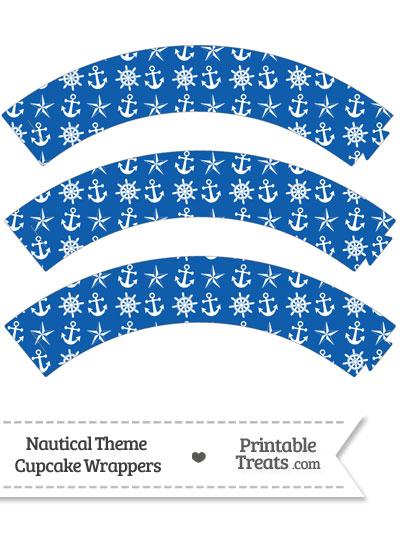 Blue Nautical Cupcake Wrappers from PrintableTreats.com