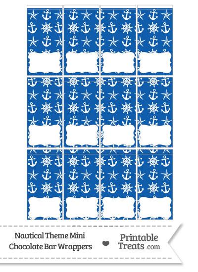 Blue Nautical Mini Chocolate Bar Wrappers from PrintableTreats.com