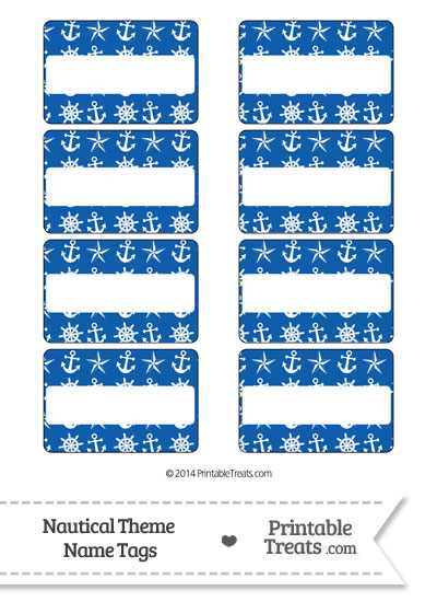 Blue Nautical Name Tags from PrintableTreats.com