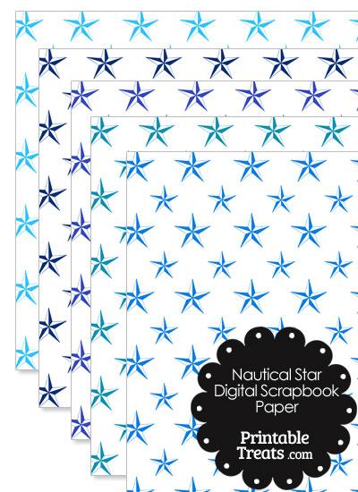 Blue Nautical Star Digital Scrapbook Paper from PrintableTreats.com