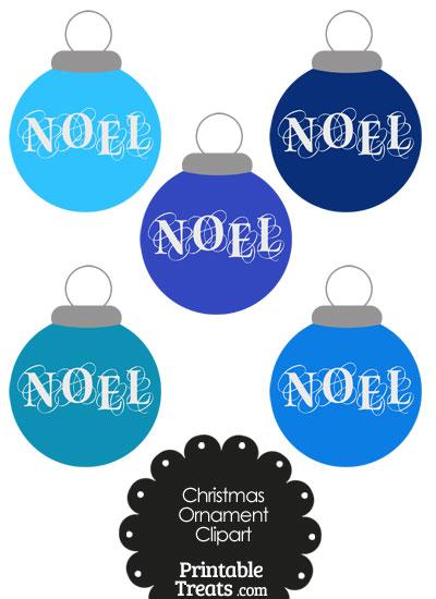 Blue Noel Christmas Ornament Clipart from PrintableTreats.com