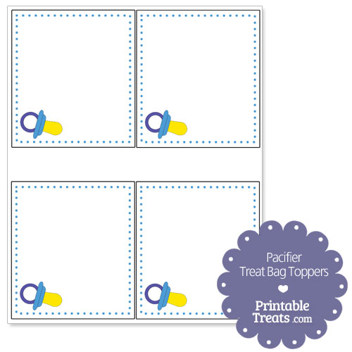 blue pacifier treat bag toppers