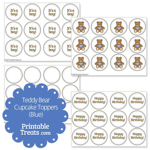 blue printable teddy bear cupcake toppers