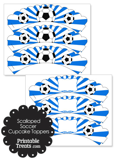 Blue Scalloped Sunburst Soccer Cupcake Wrappers from PrintableTreats.com